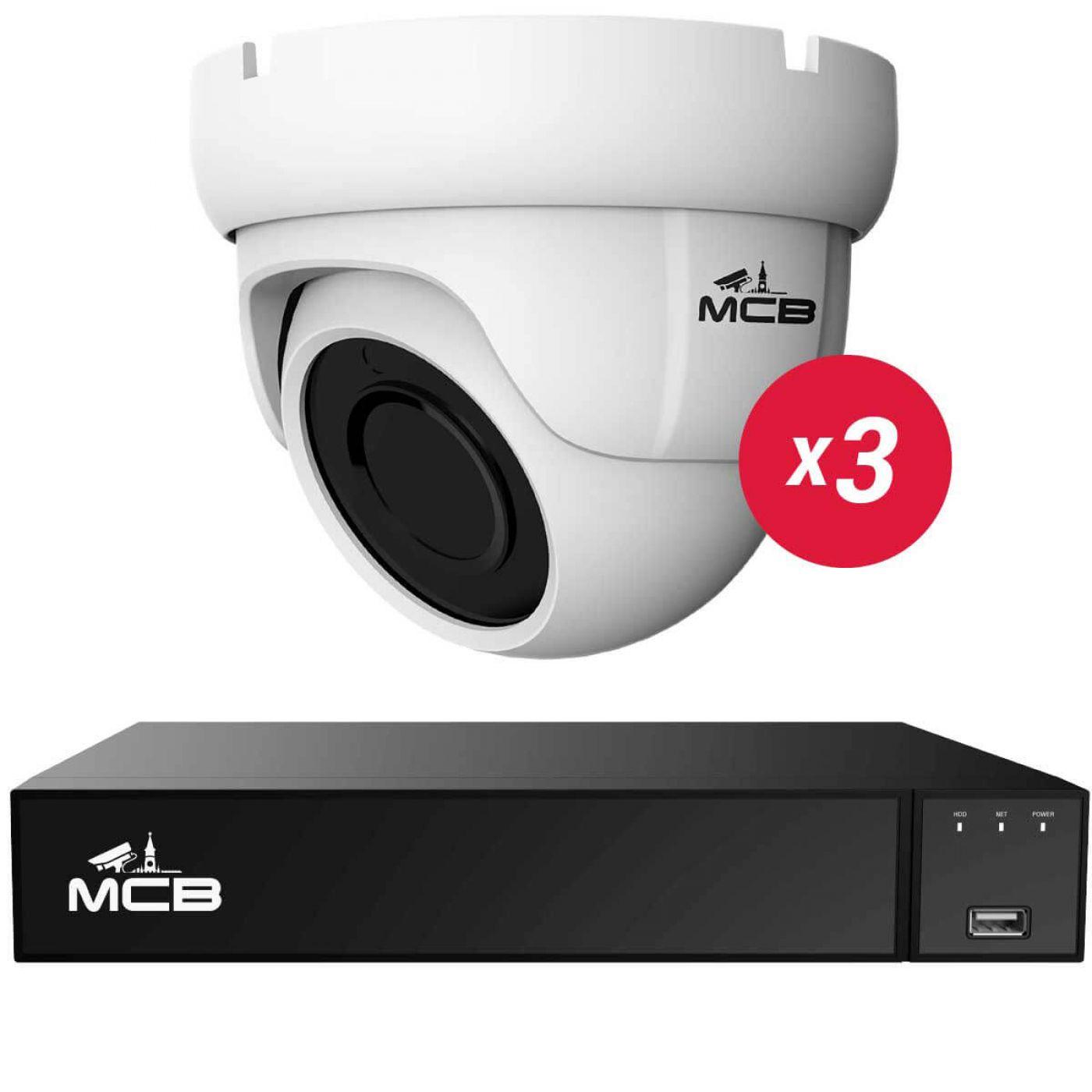 Готовый комплект IP видеонаблюдения на 3 Full HD камеры со звуком